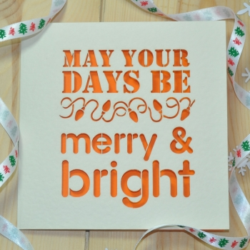 'Merry And Bright' Laser Cut Christmas Card