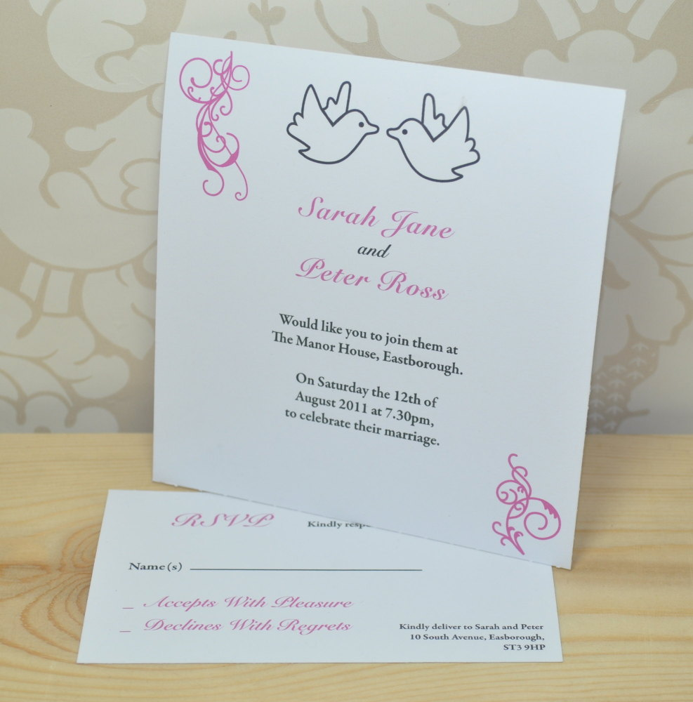 Dove Printed Wedding Invitation and RSVP
