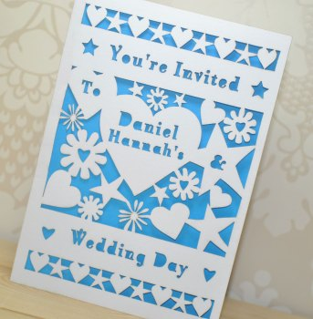 Flower and Heart Laser Cut Wedding Invitation