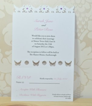 Butterfly Laser Cut Wedding Invitation RSVP