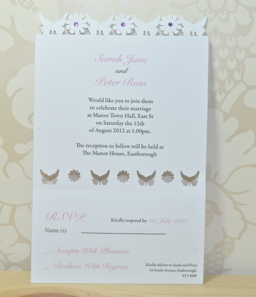 Butterfly Laser Cut Wedding Invitation RSVP