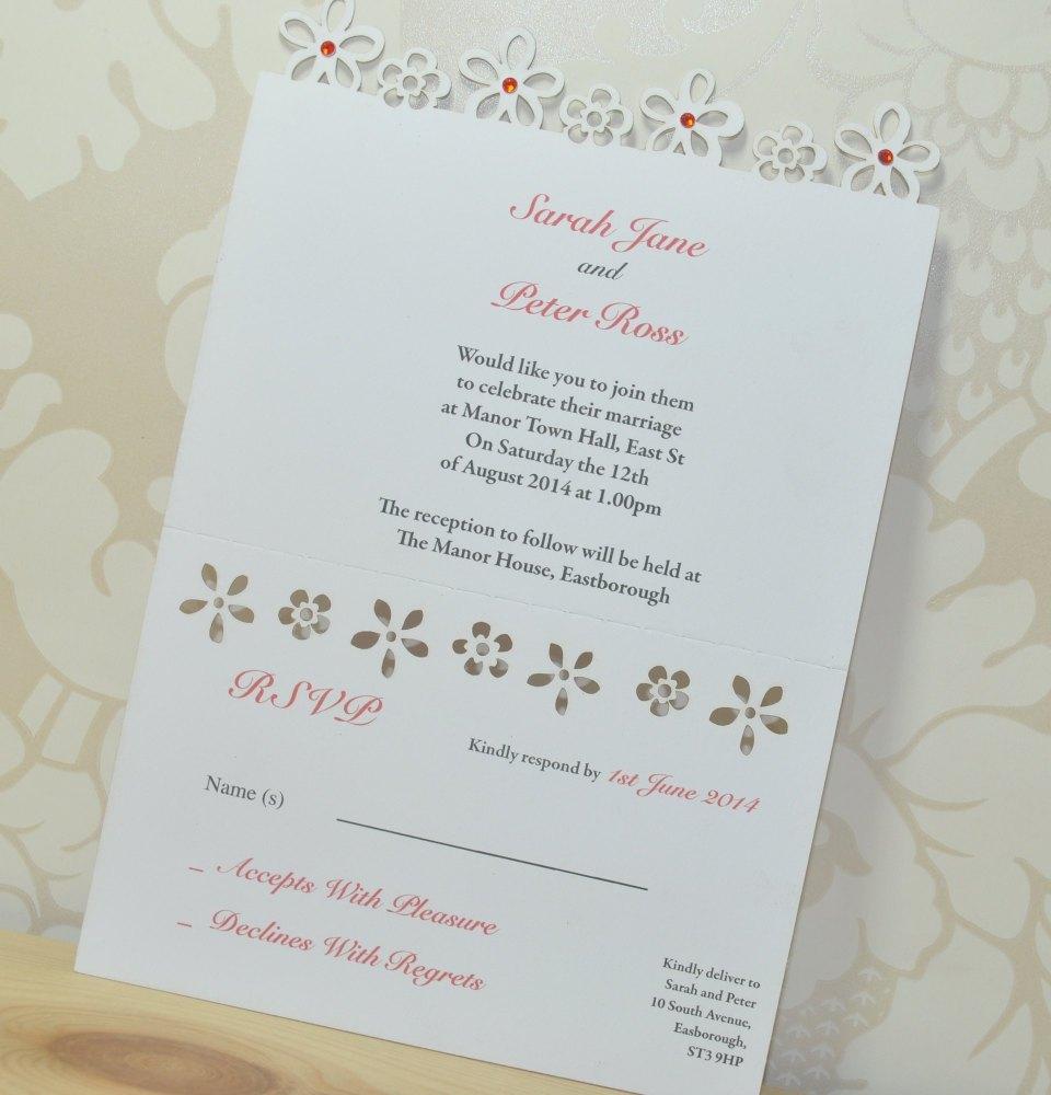 Flower Laser Cut Wedding Invitation RSVP