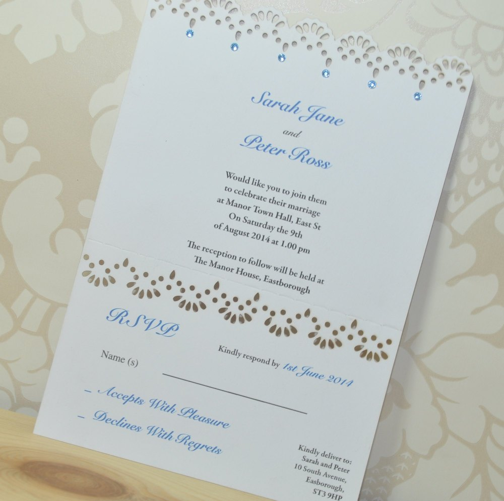 Lace Laser Cut Wedding Invitation RSVP