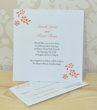 Flower Wedding Invitation And RSVP