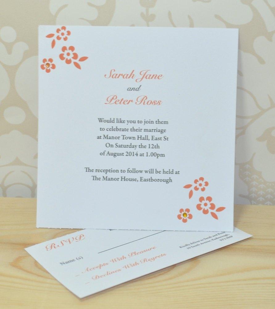 Flower Wedding Invitation And RSVP