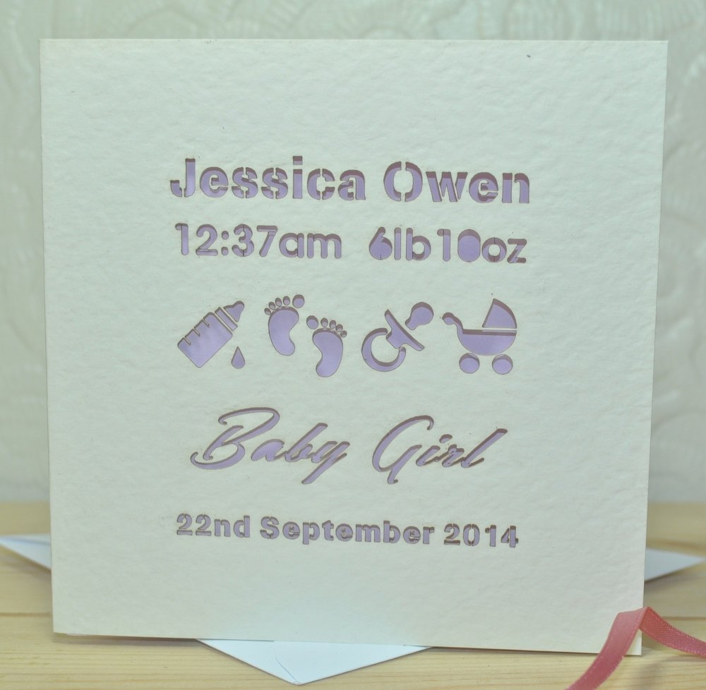 Personalised Laser Cut Baby Girl Card