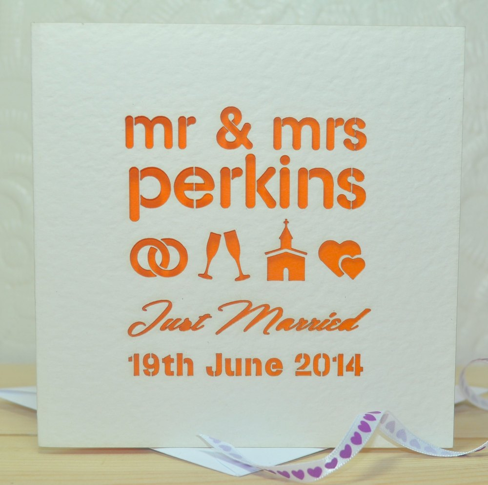 Personalised Mr And Mrs Laser Cut Wedding Card