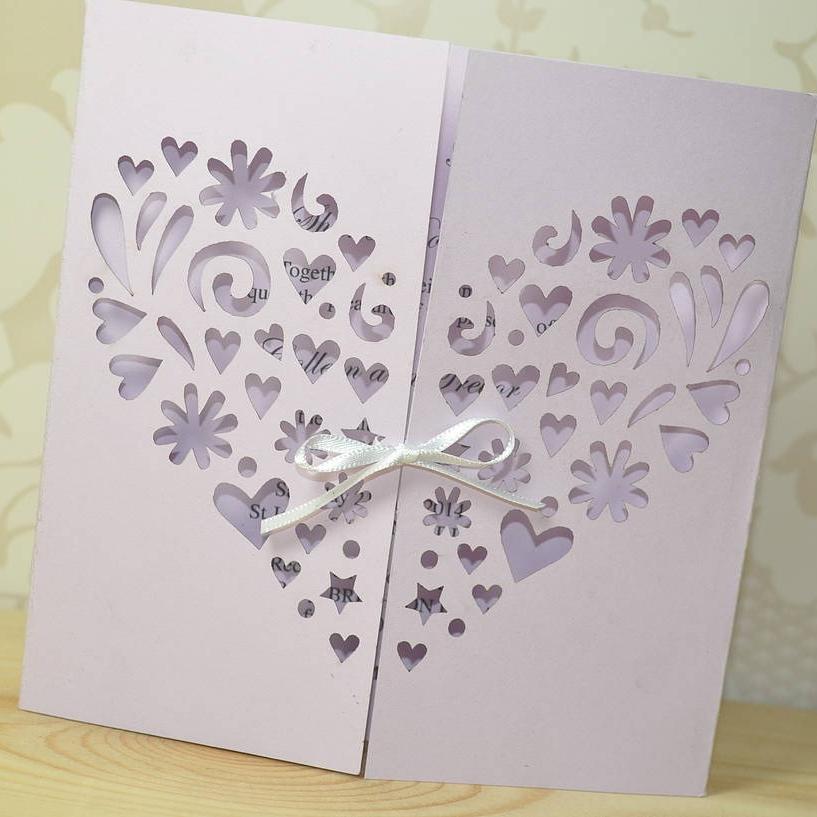 Heart Laser Cut Gatefold Wedding Invitation
