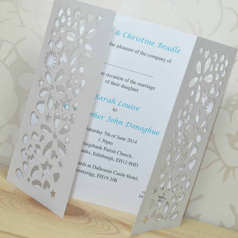Laser Cut Flower And Butterfly Gatefold Invitation