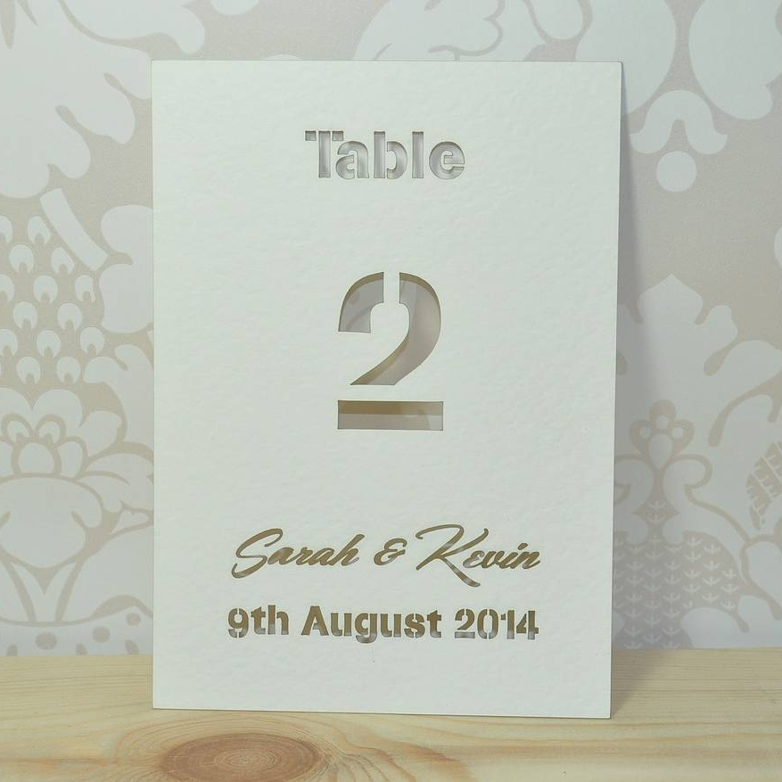 Laser Cut Typographic Wedding Table Cards