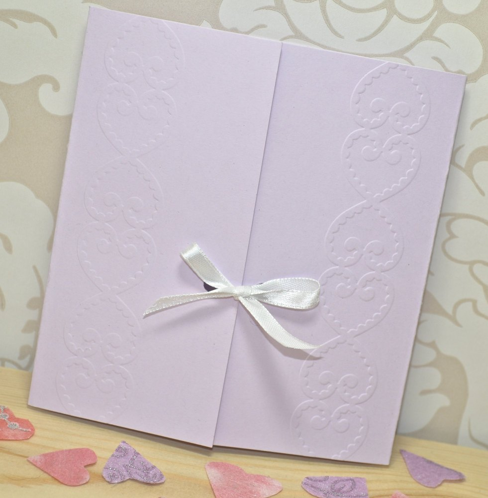 Lace Heart Embossed Wedding Invitations