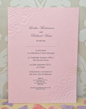 Vintage Lace Embossed Wedding Invitation