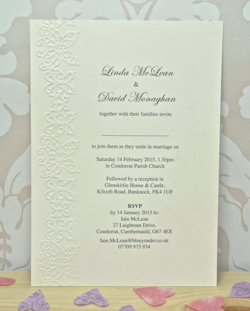 Butterfly Embossed Wedding Invitations