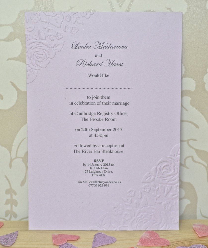 Vintage Rose Embossed Wedding Stationary