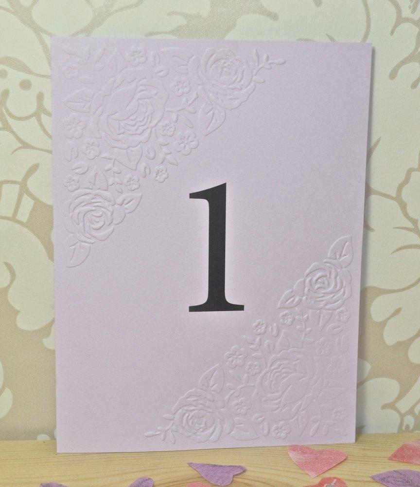 Vintage Rose Embossed Wedding Table Numbers