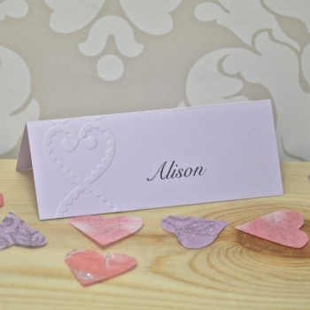 Lace Heart Embossed Place Cards