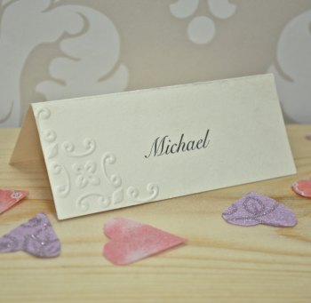 Ornamental Embossed Wedding Place Card