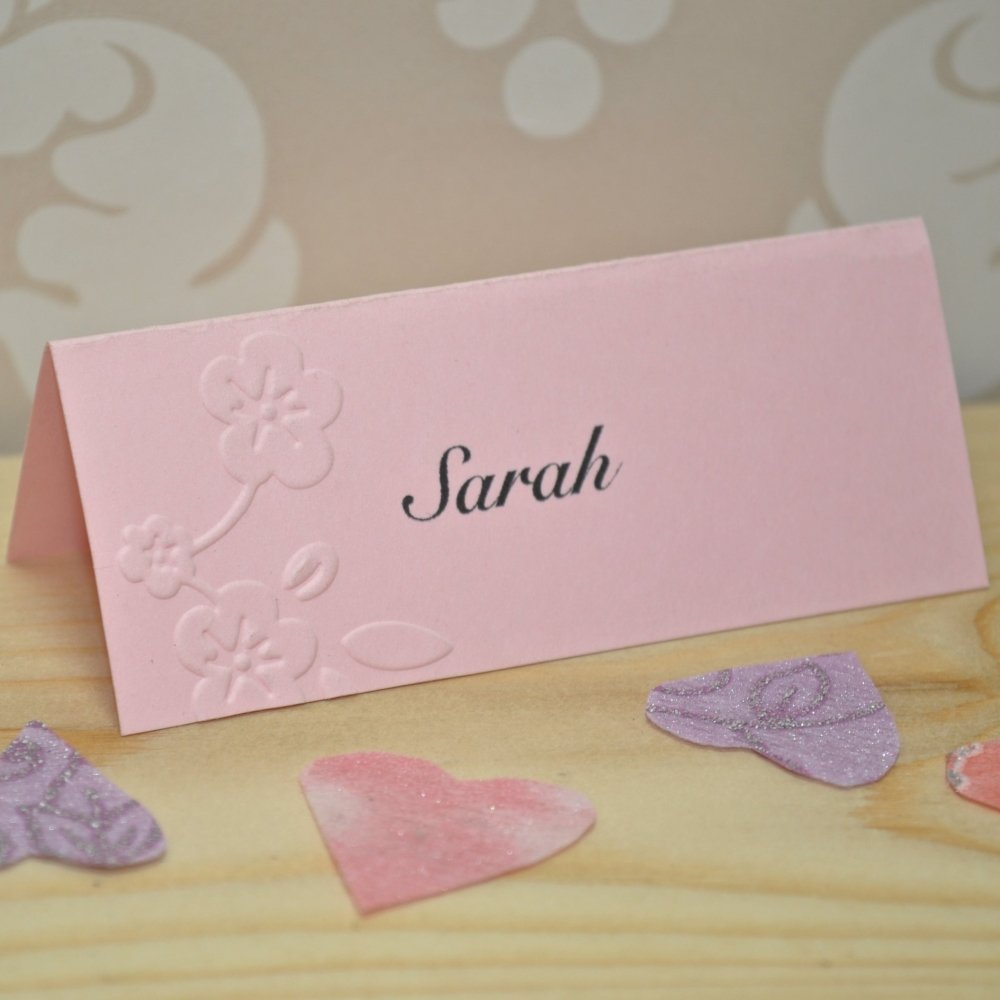 Floral Embossed Wedding Place Cards