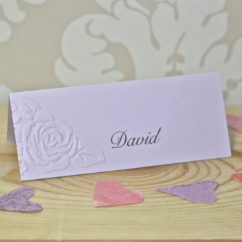 Vintage Rose Embossed Wedding Place Card