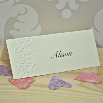 Butterfly Embossed Wedding Place Cards
