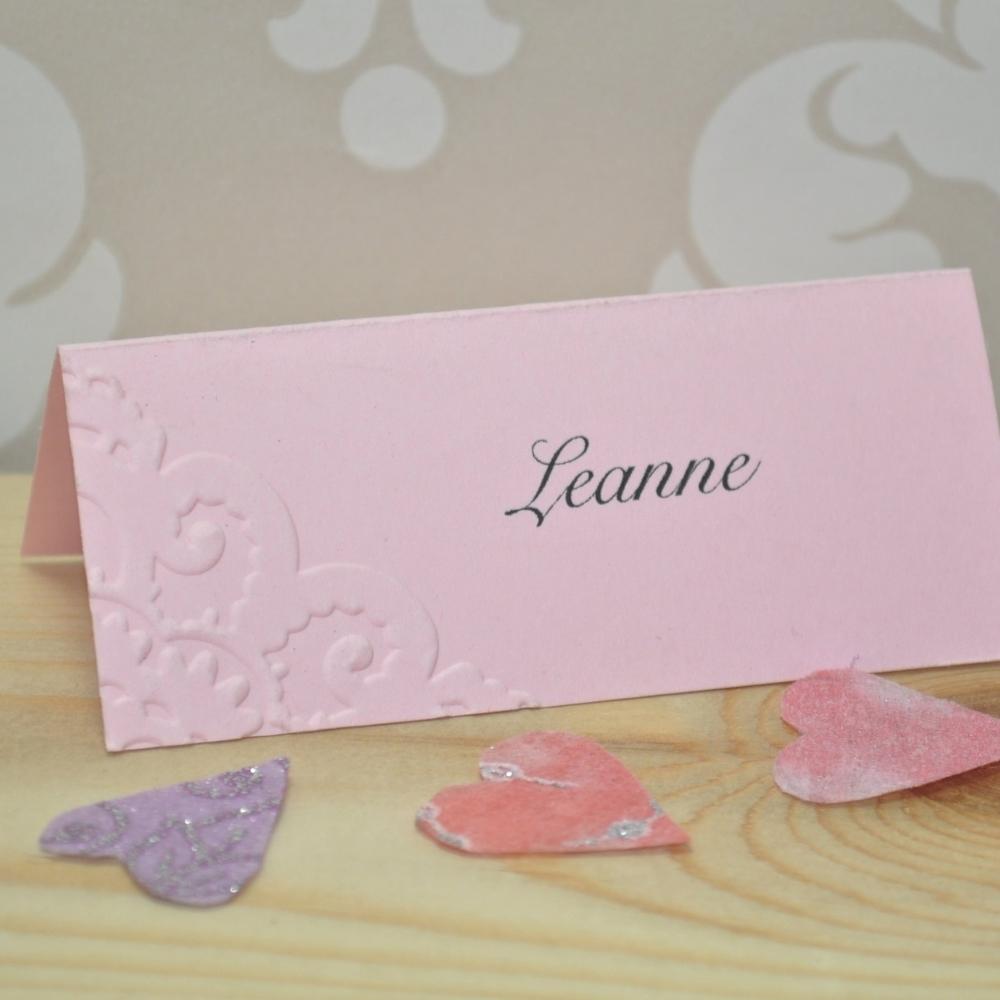 Vintage Lace Embossed Wedding Place Cards