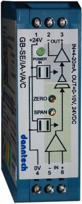 Eco-Line Signal Converter 4-20mA to 0-10V 24VDC Aux