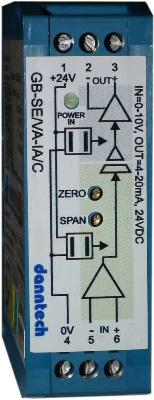 Eco-Line Signal Converter 0-10V to 4-20mA 24VDC Aux