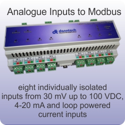 eight analogue input to modbus interface