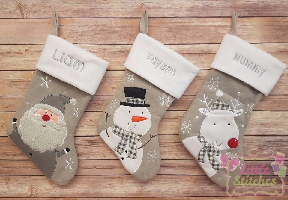 Grey Christmas Stockings Personalised.Personalised Grey Santa Snowman And Reindeer Design Stocking