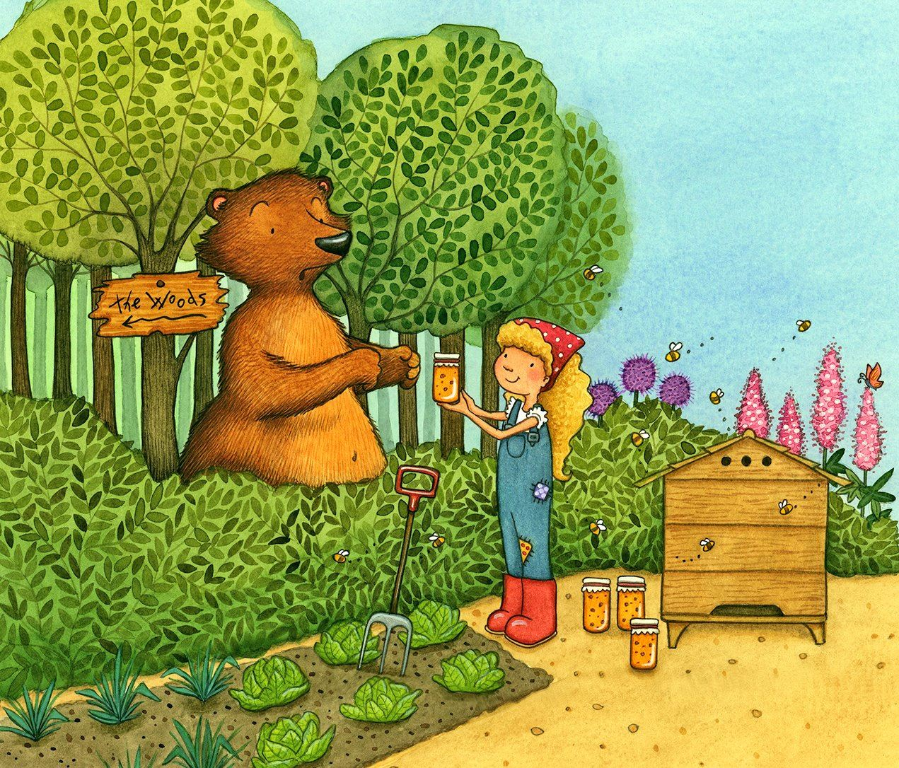 Making friends with bear illustration