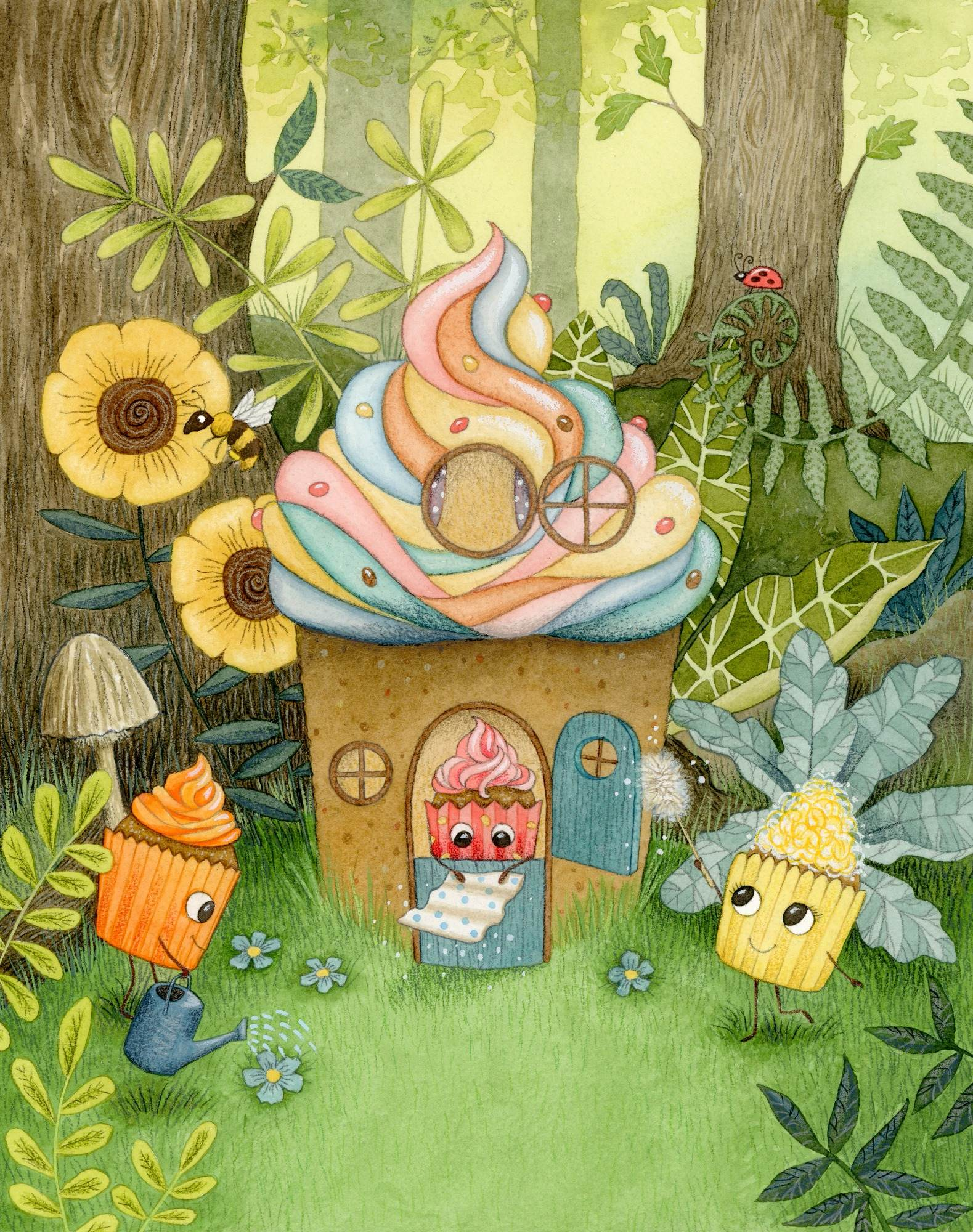 Cupcake cottage illustration