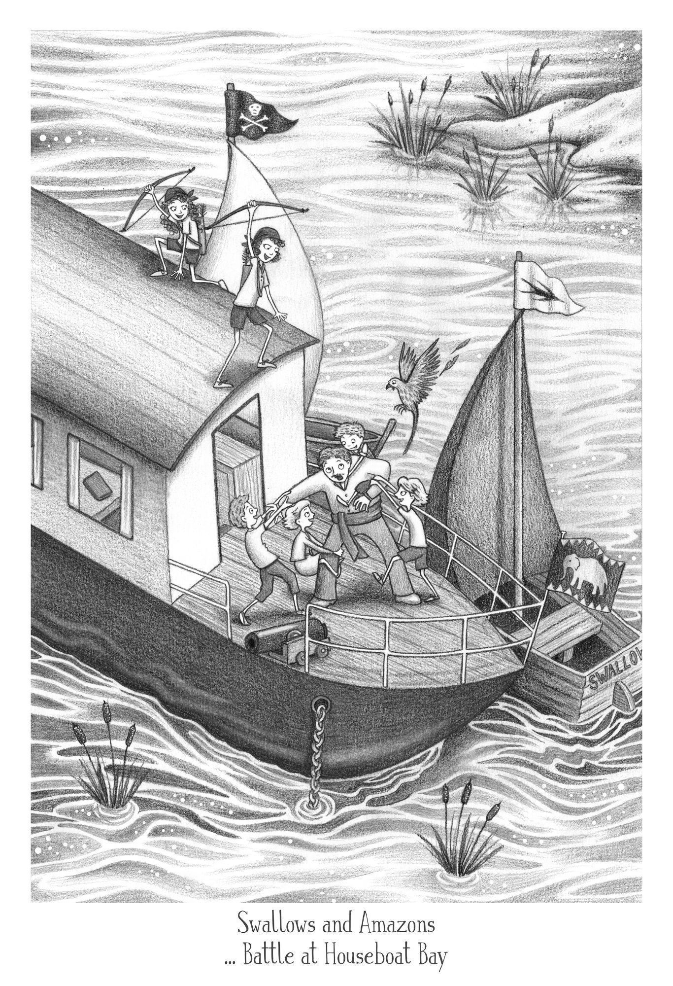 Swallows and Amazons illustration - Battle at Houseboat Bay