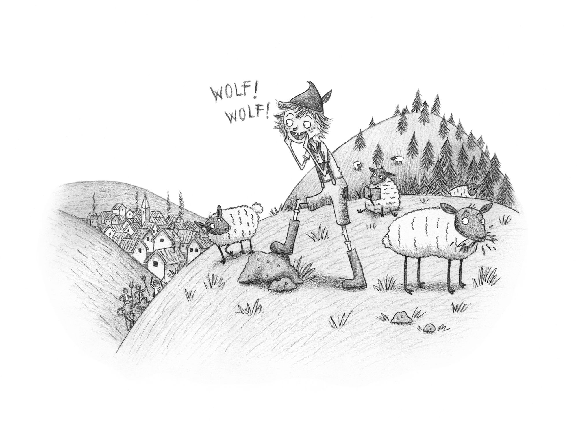 The boy who cried wolf illustration