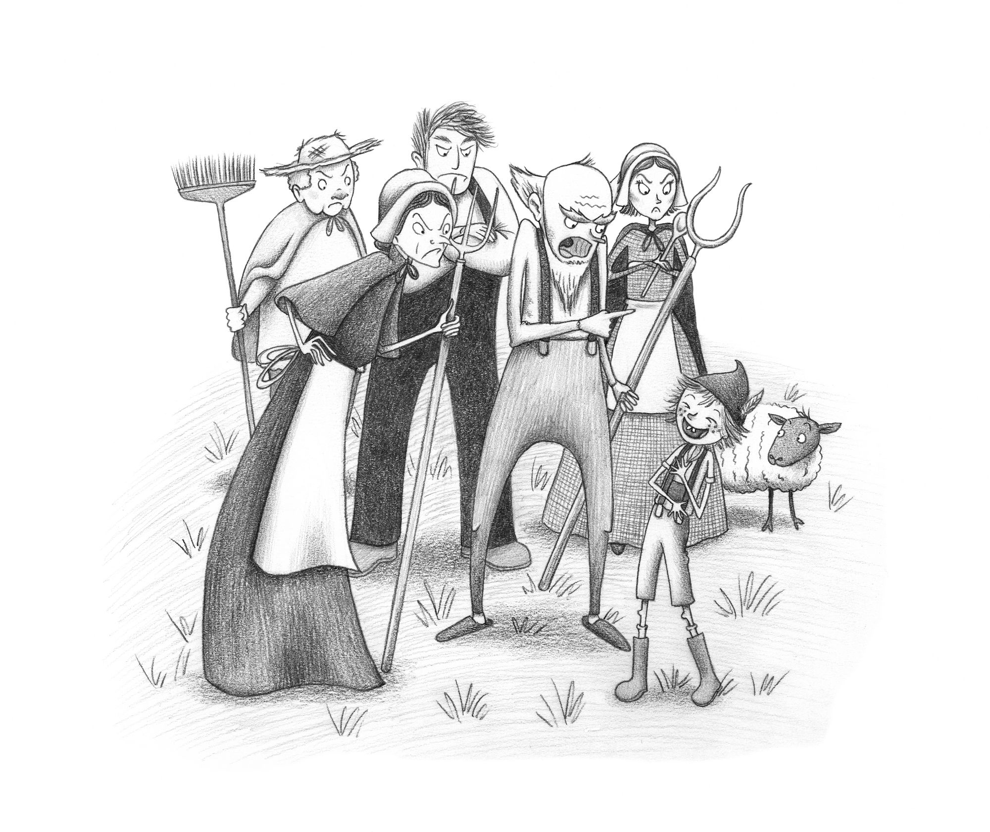 Angry villagers - the boy who cried wolf illustration