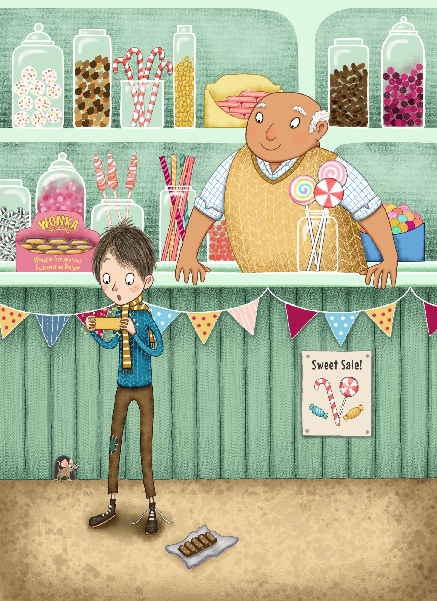The Golden Ticket - Charlie and the Chocolate Factory - Children's Illustration by Emma Allen