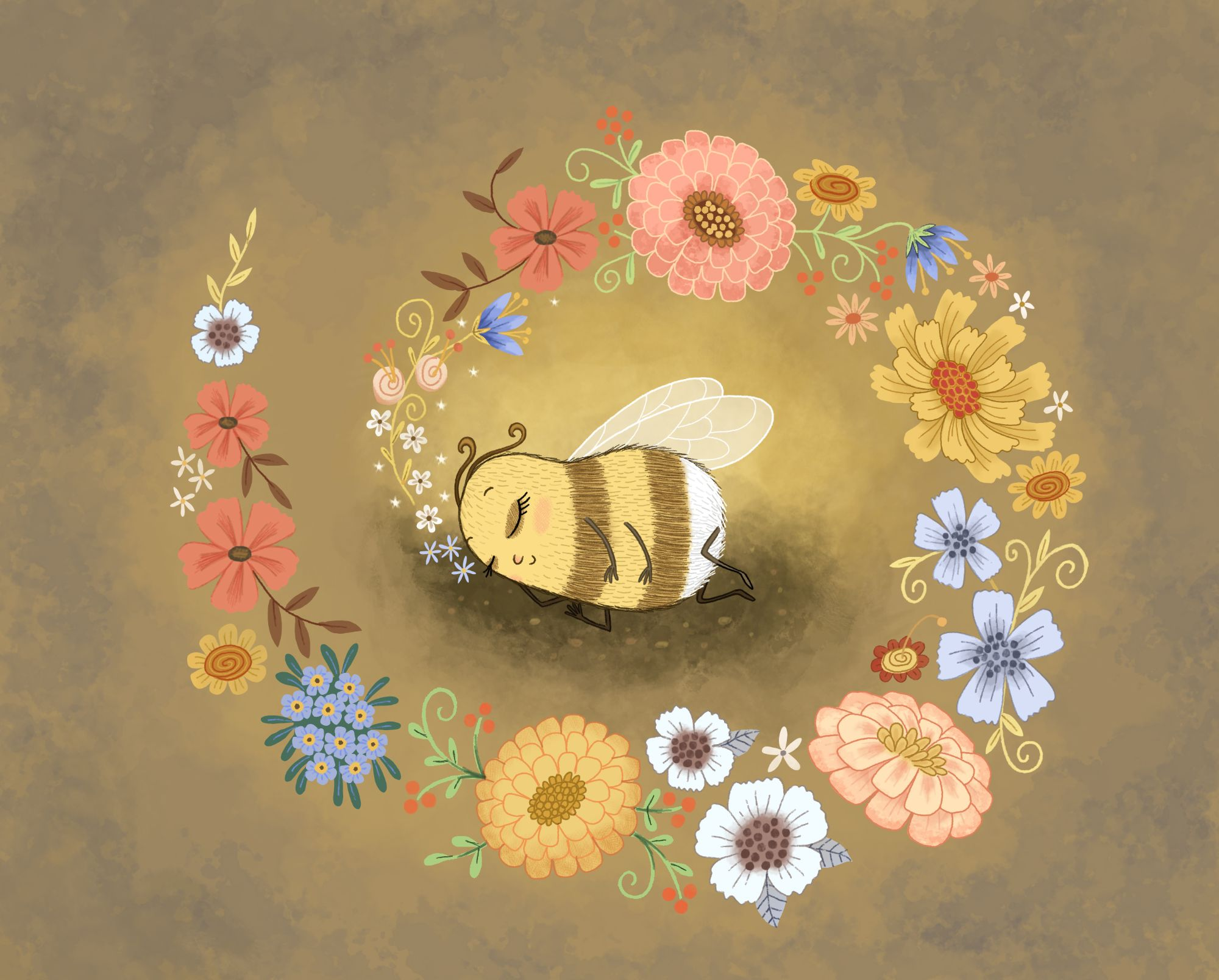 Bumble bee dreams of flowers illustration