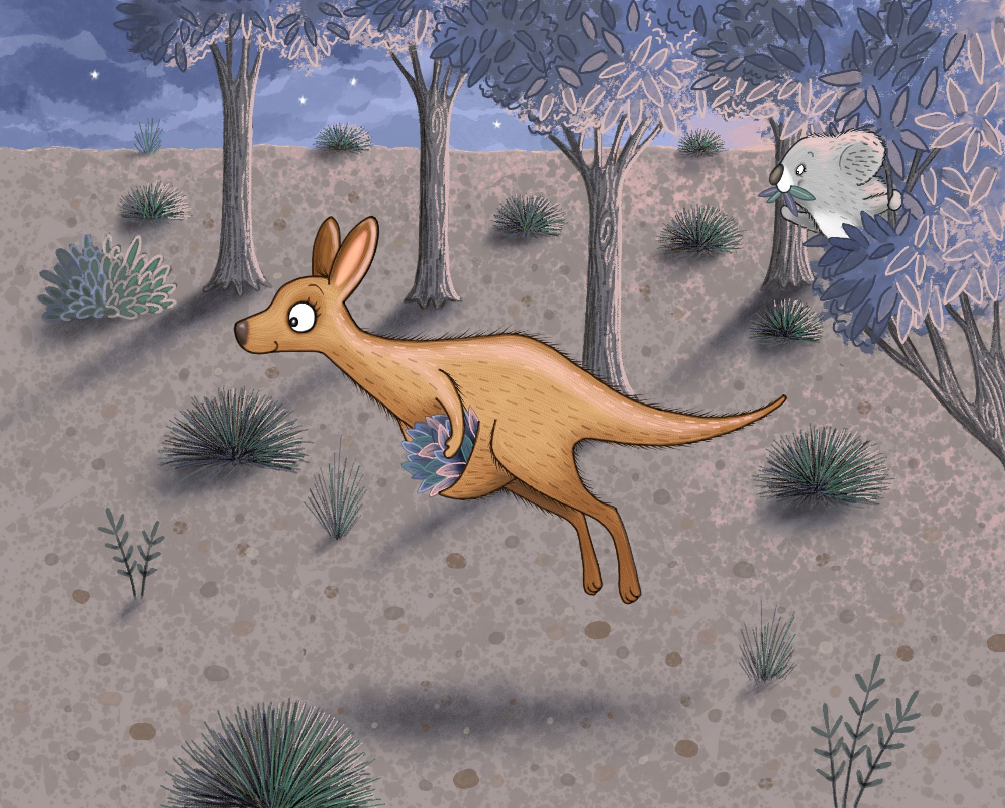 Kangeroo and koala illustration
