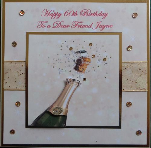 Personalised champagne birthday card