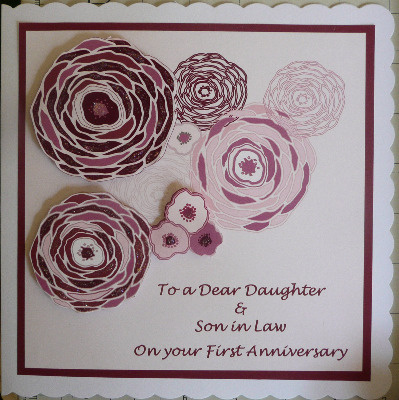 First Anniversary Card with flowers, burgundy