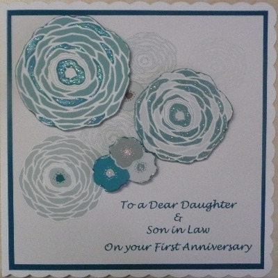 First Anniversary Card with flowers, teal