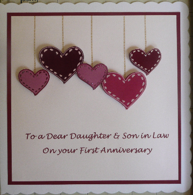 First Anniversary Card with hearts, burgundy