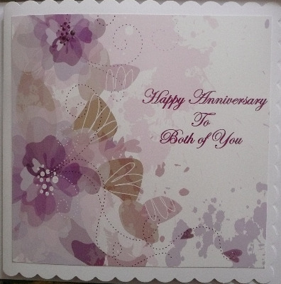 Anniversary Card with flowers, lilac and purple