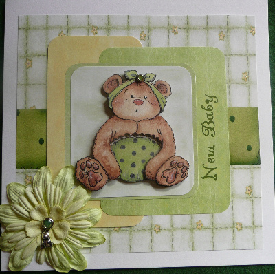 New baby teddy card