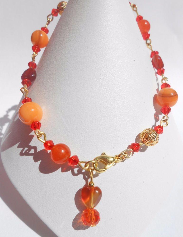 Orange Ankle Bracelet