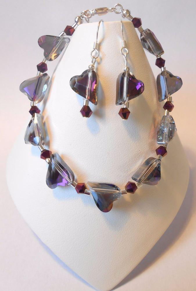 Violet Crystal Heart Set