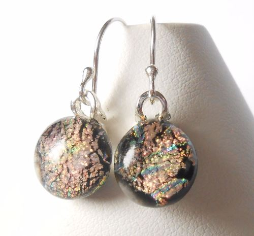 Pink mix glass earrings