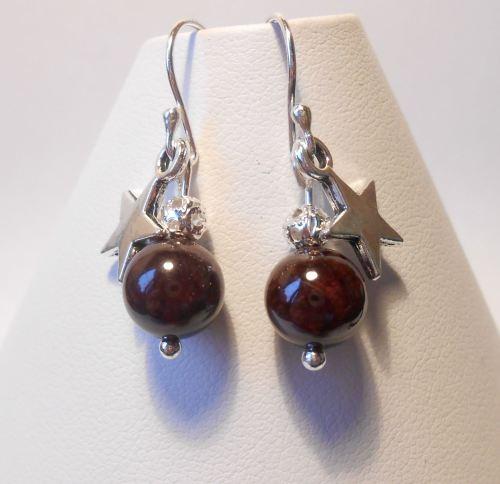 Garnet Star Earrings