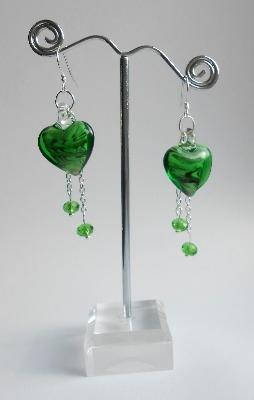 Green Murano Heart Earrings