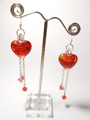 Red Murano Heart Earrings