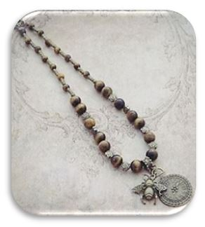 Tigers Eye Bee Pendant Necklace sistersofthemoon.org.uk
